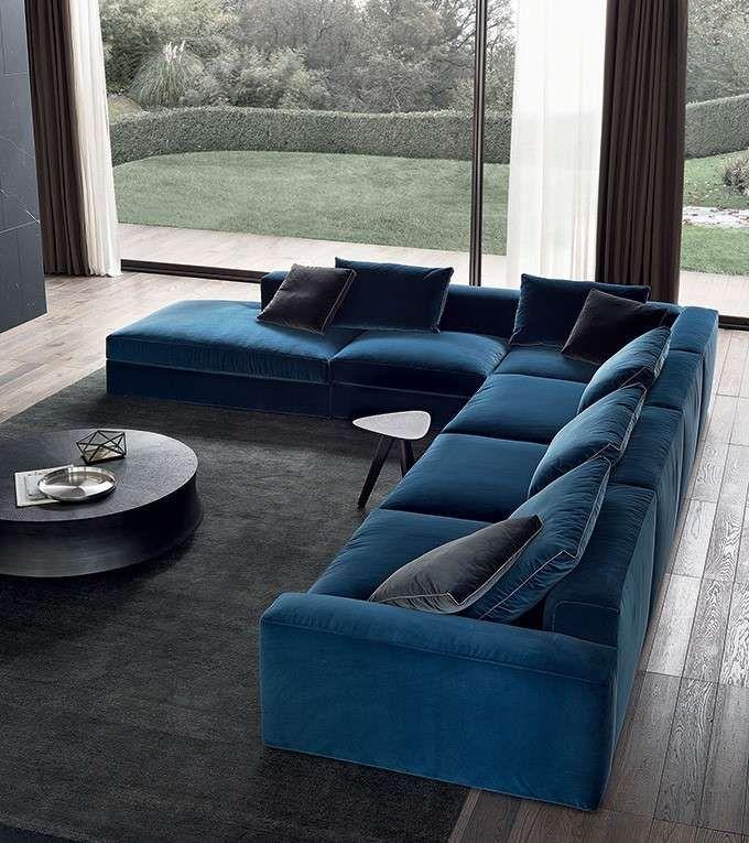 Divano dal colore deciso - Divano angolare nelle tonalità del blu, Poliform divani 2015.