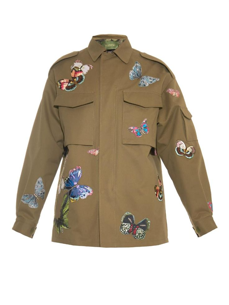 Valentino Butterfly-embroidered cotton jacket