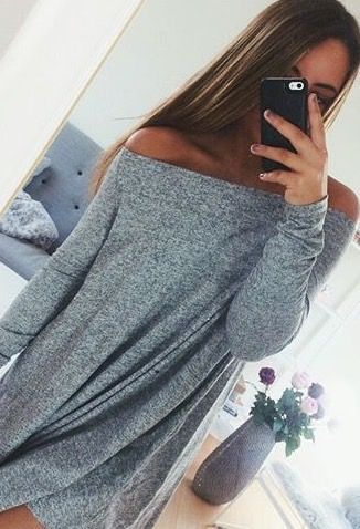 Off the shoulder sweater dress
