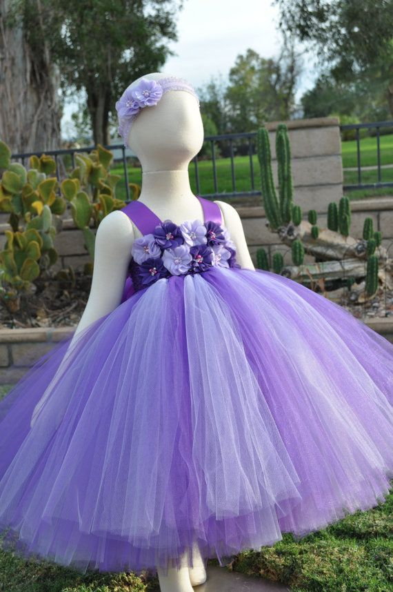 Purple Lavender Flower Girl Dress Purple by SweetiekinsBoutique