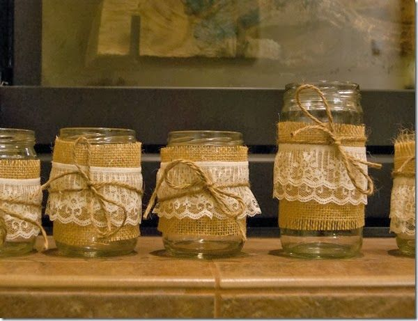 Peterson's Perspective: DIY Gift Exchange- mason jar candle holder with burlap, lace and twine bow