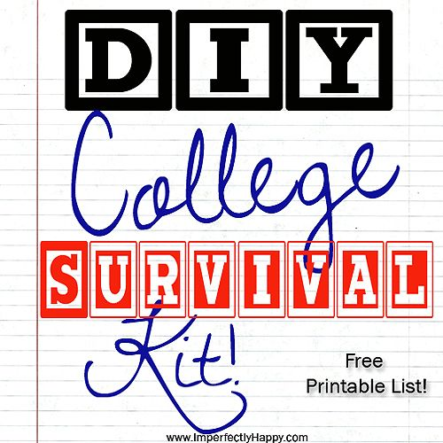 DIY College Survival Kit with Free Printable Lists | by ImperfectlyHappy.com