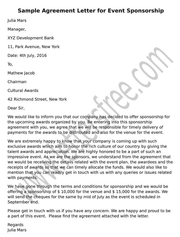 Professional Sample Format Agreement Letter For Event Sponsorship Write The  Organizing Committee Offering  Format For Agreement