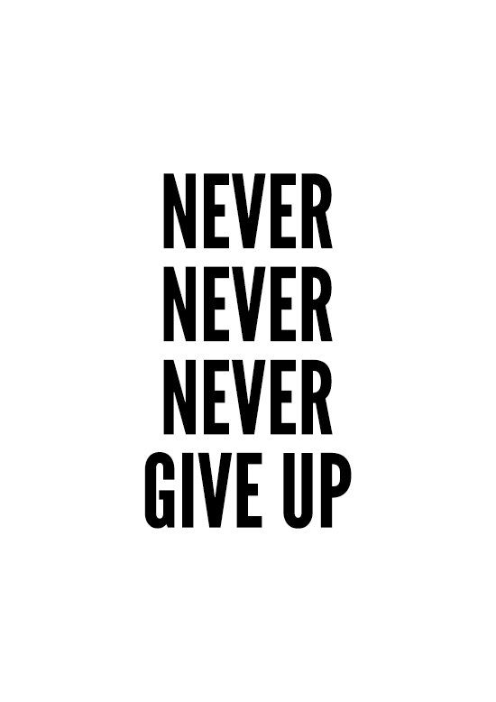 Never give up Poster typography art wall decor by MottosPrint