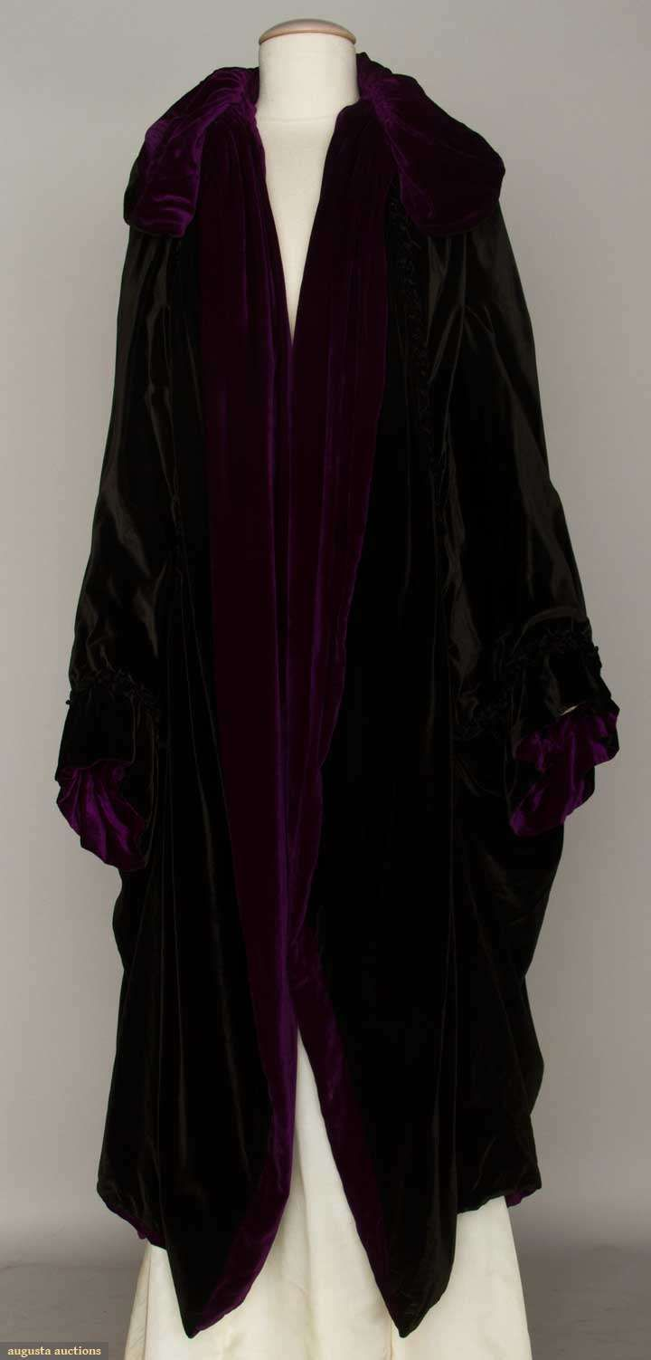 Silk Velvet Opera Coat Of Black With Purple Velvet Lining, Cocoon Style With Ruched Collar    c.1915