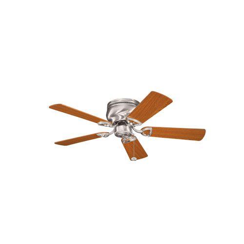 Stratmoor Brushed Stainless Steel 42-Inch Ceiling Fan with Reversible Light Oak/Medium Oak Blades