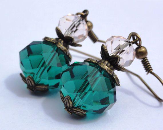 Crystal Earrings.Green  Crystal by StunningGemsJewelry on Etsy