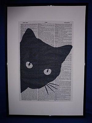 Black Cat Wall Art Print by DecorisDesigns on Etsy