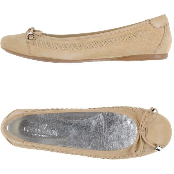 Hogan Ballet Flats ($198) ❤ liked on Polyvore featuring shoes, flats, beige, ballet pumps, round toe flats, beige flats, leather flat shoes and leather ballet shoes