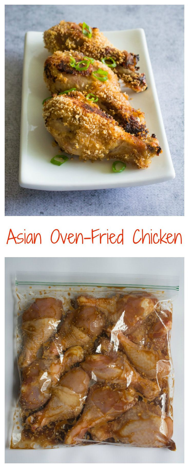This Asian Oven-Fried Chicken is crazy delicious. The marinade gives the meat such incredible flavor, and the panko breadcrumbs gives the skin such great crunch. Best of all, since it's cooked in the oven and not deep-fried in oil, it's really healthy!