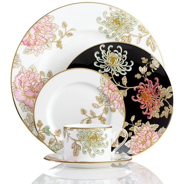 Marchesa by Lenox Dinnerware, Painted Camellia 5 Piece Place Setting ($180) ❤ liked on Polyvore featuring home, kitchen & dining, dinnerware, no color, lenox and lenox dinnerware