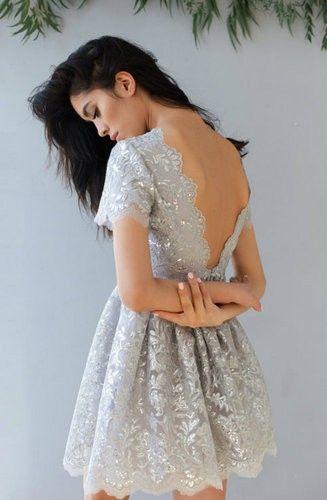 Bareback short sequin dress