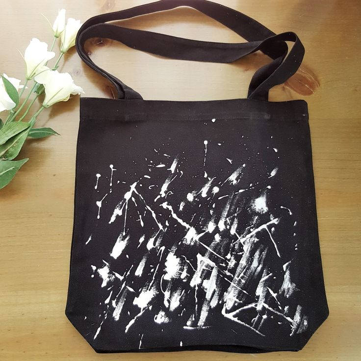 Paint Splatter Bag - Monochrome - hand painted by Grafeeq on Etsy