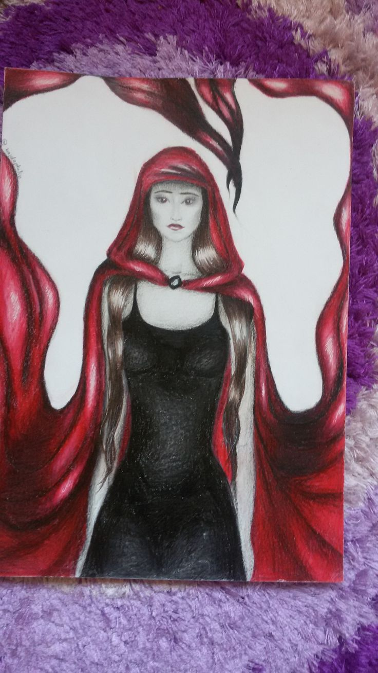 red ridding hood colour pencils A4