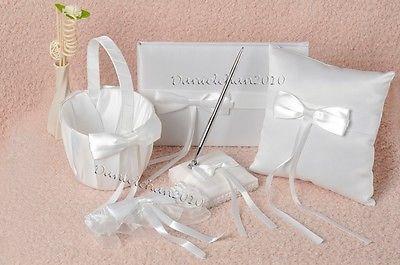 White Bowknot Wedding Guest Book Ring Pillow Pen Set & Flower Basket Garter GB24
