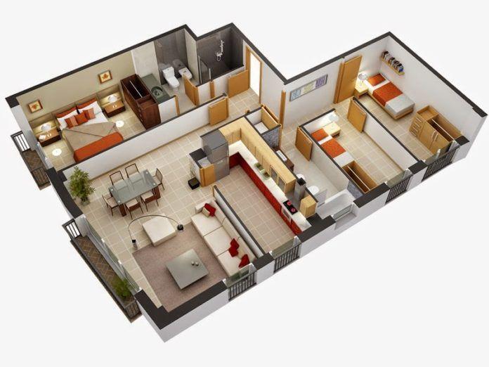 Wonderful 3d Home Plans Amazing Architecture Magazine Ev Zemin Planlari Kucuk Ev Planlari Yatak Odasi Kat Planlari