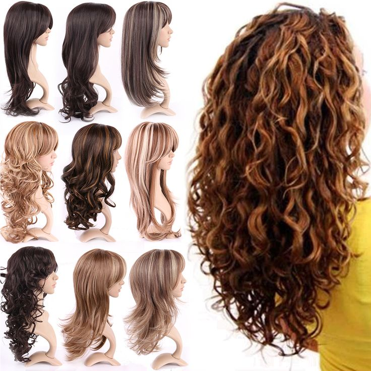 Top Quality Women Girls Natural Synthetic Hair Wig Long Ombre Black Brown Blonde Cosplay Party Full Wigs Soft