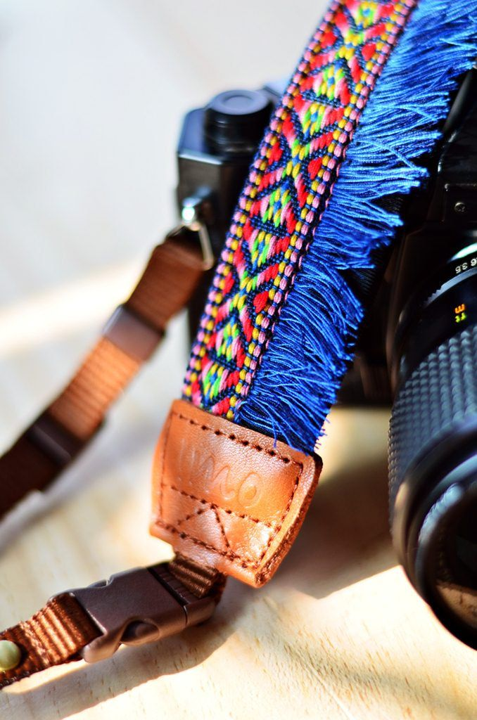 Blue Bohemian Camera Strap for DSLR / SLR Quick Release. $26.00, via Etsy.