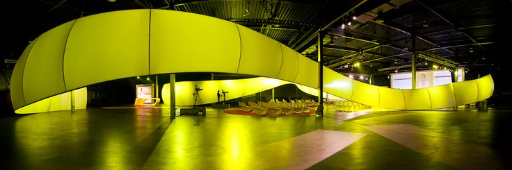 A huge ribbon crossing the hangar, an impressive set up  for a marketing meeting in Amsterdam