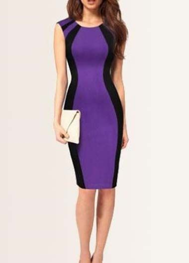 Career Woman Essential Color Patchwork Bodycon Dress
