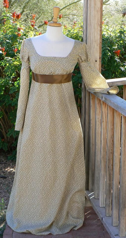 Regency Empire Waist Dress Cotton Floral Gown Historical Costume Jane Austen. $160.00, via Etsy.