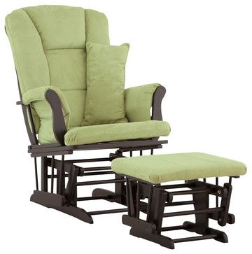 Stork Craft Tuscany Glider and Ottoman with Free Lumbar Pillow in Black with Sag - transitional - Rocking Chairs - Cymax  $227.00
