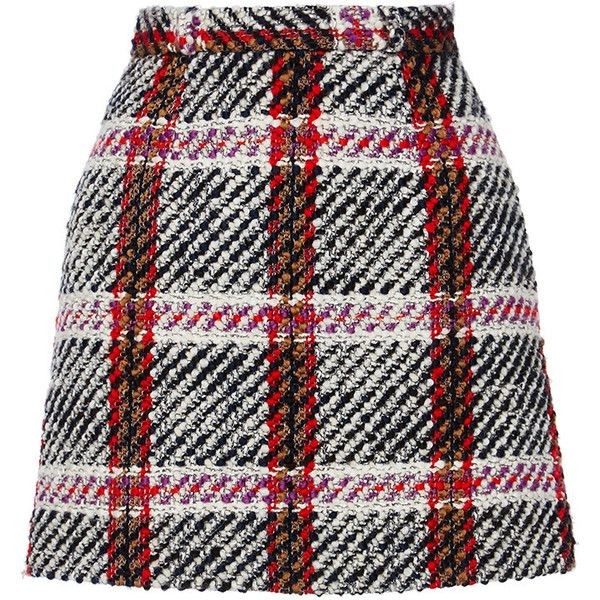 Carven Checked Mini Skirt ($350) ❤ liked on Polyvore featuring skirts, mini skirts, bottoms, short skirts, black miniskirt, black skirt, checkered skirt and black fitted skirt