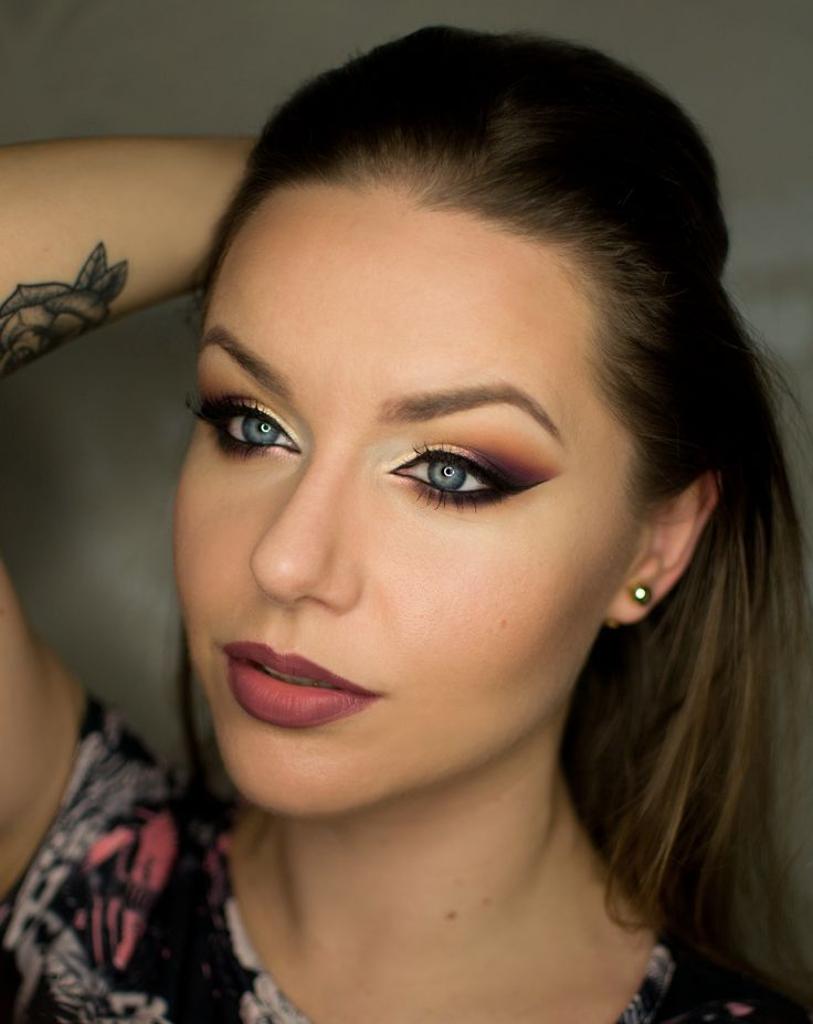 Makeup Geek Eyeshadows in Bitten, Cherry Cola, Frappe, Latte and Peach Smoothie. Look by: Magdalena Mizura