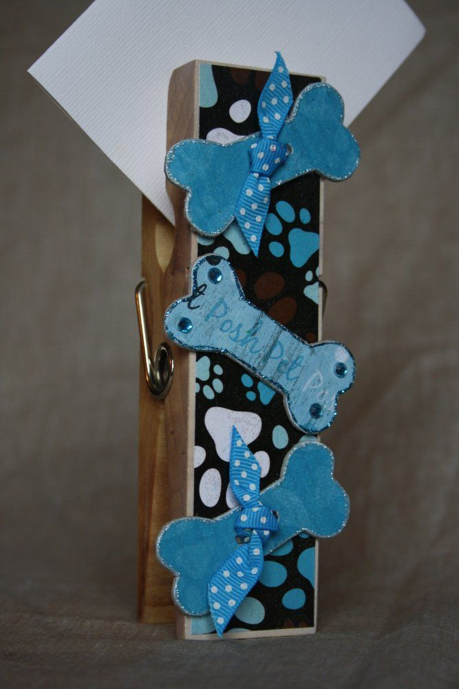 Blue Dog Bone Extra Large Clothespin Photo/Note Holder