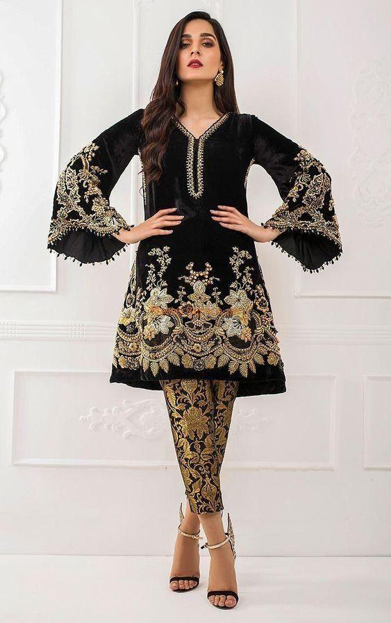 Stylish Velvet Suit For Ladies Ready To Wear Velvet Dress Designs Pakistani Party Wear Pakistani Fashion Party Wear
