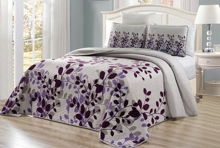 Purple Bedding Ideas - 3-Piece Fine printed Oversize (100in X 95in) Fresca Quilt Set Reversible Bedspread at luxcomfybedding.com