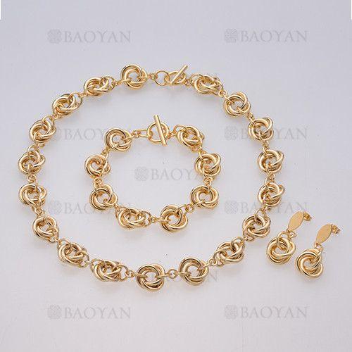 juego pendientes ,brazalete y collar de circulos especial moda en acero dorado inoxidable -SSNEG504013