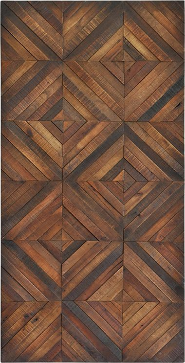 Fine polished veneer in a diamond pattern brings the charm of wood flooring to the wall in this unique decorative piece.