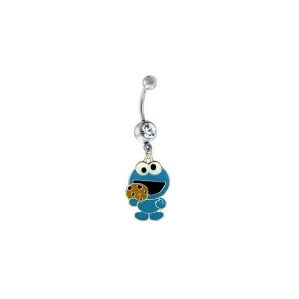 Cookie Monster BLUE Crystal Metal Enamel Cute Sexy Belly Navel Ring... ($9.99) ❤ liked on Polyvore