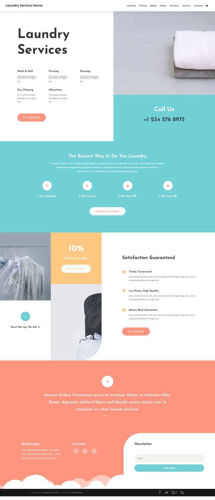 Laundry Service Landing Page Elegant Themes Web Layout Design Clean Web Design Web Design Inspiration