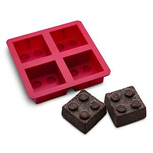 The Building Brick Mini Cake Mold produces four tiny cakes or whatever it is you're creating in this food-grade silicone mold which is oven, microwave, and dishwasher safe.