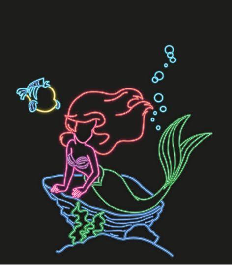 Neon Little Mermaid And Flounder Silhouettes Mermaids Pinterest Mermaids