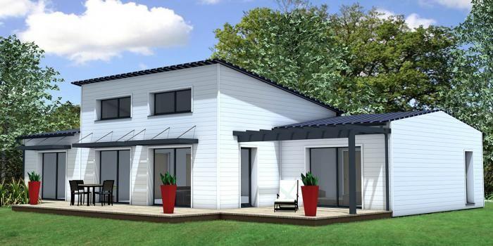 maison bois contemporaine design bac acier tuile noire monopente maison bois de style. Black Bedroom Furniture Sets. Home Design Ideas