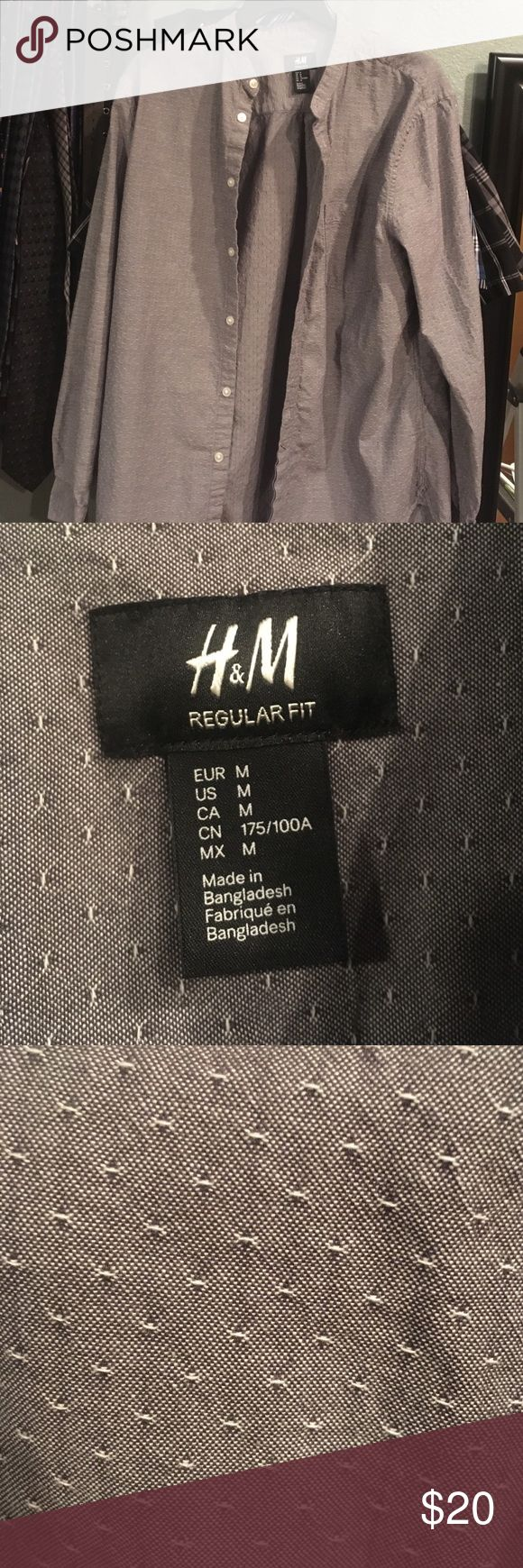 H&M Men's banded collar shirt Worn once for an occasion. Nice looking banded collar, unique pattern. Perfect Condition H&M Shirts Casual Button Down Shirts