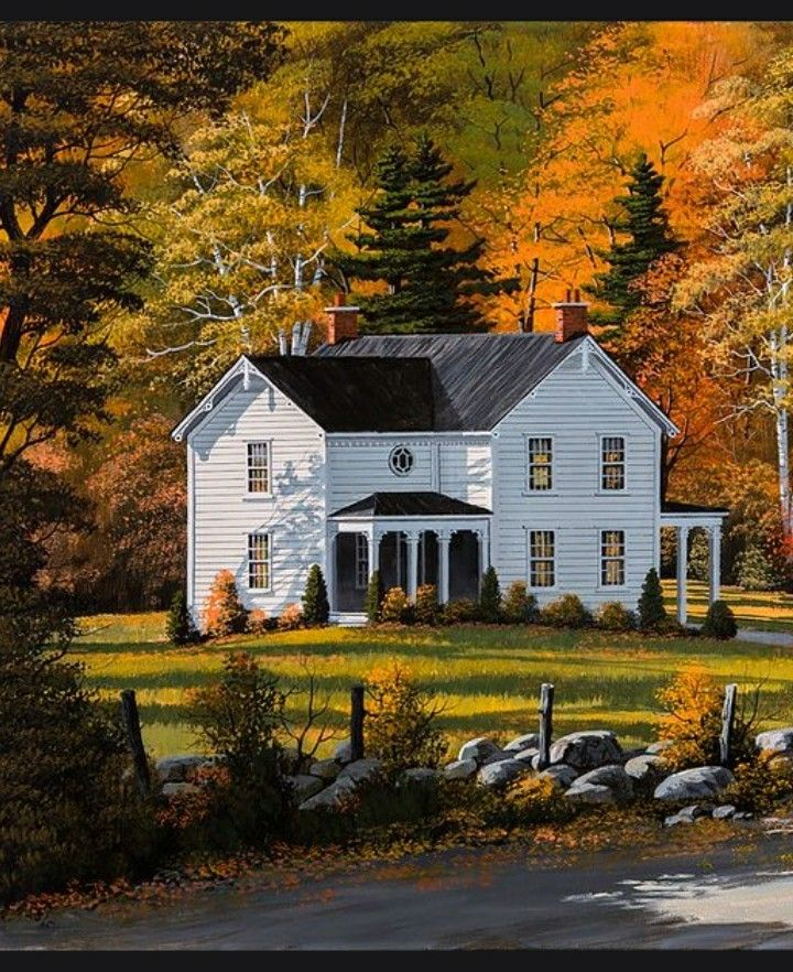 I Love The House In This Painting Cottage Art House Portraits Home Art