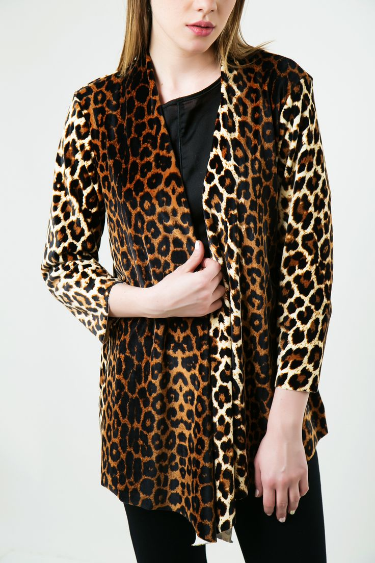 Asymmetric pointed cardigan. Long sleeves and round neck. Velvet touch without seams. http://www.modaboom.com/clothes/zaketes-en/animal-print-suede-zaketa/