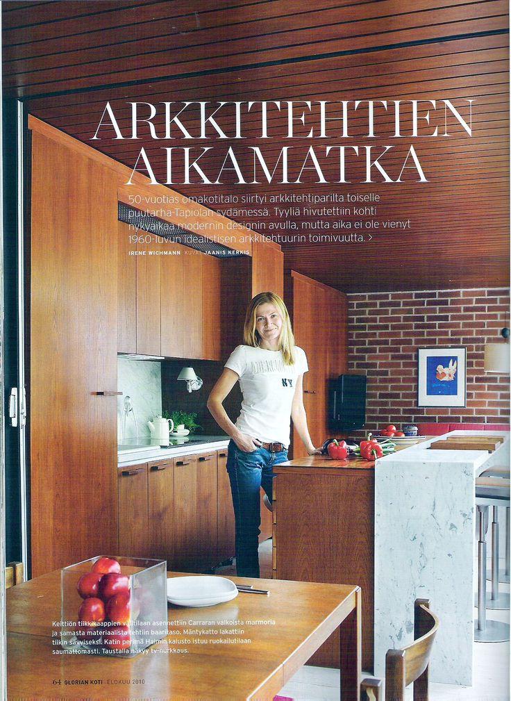 House in Tapiola, 60´s, teak and marble, kitchen, breakfast bar