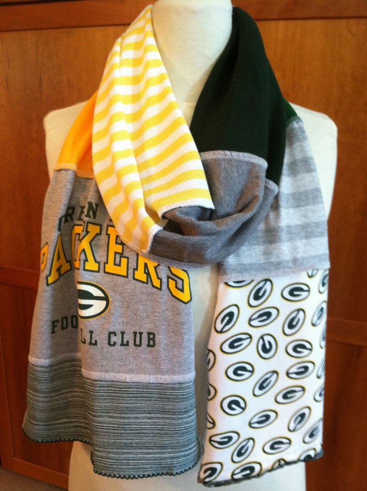 UPCYCLED t-shirt scarf ... GREEN BAY Packers ... dark green, gold, white, grey ... football