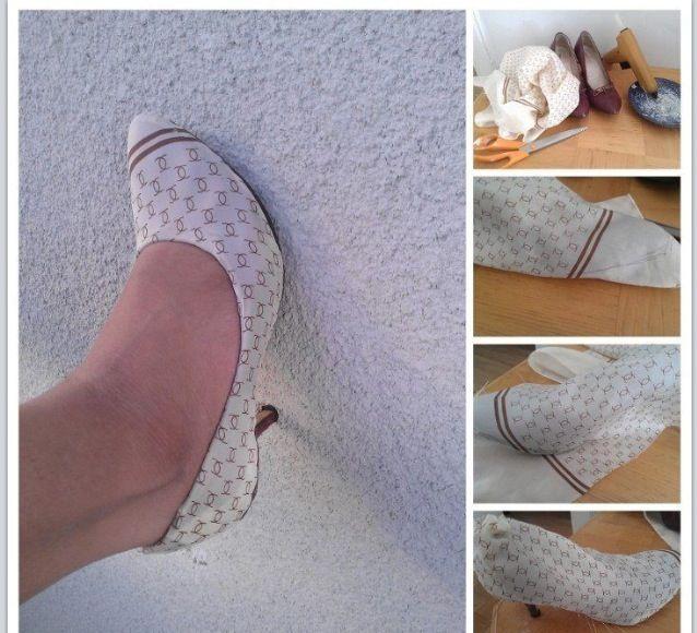 Sjal + slitna gamla pumps = sant! Av: Lisbeth Erixon / Facebook / Återbruka mera!