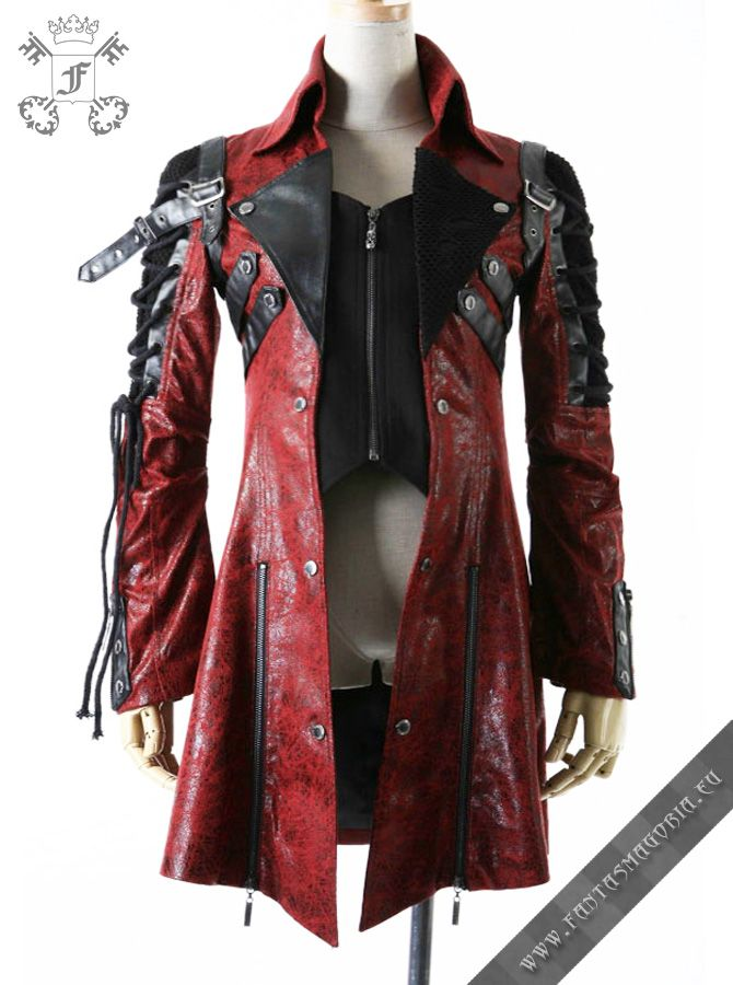 STEAMPUNK FASHION FOR MEN | Poisonblack men's jacket-red | Gothic, Steampunk, Rock, Fetish, and ...
