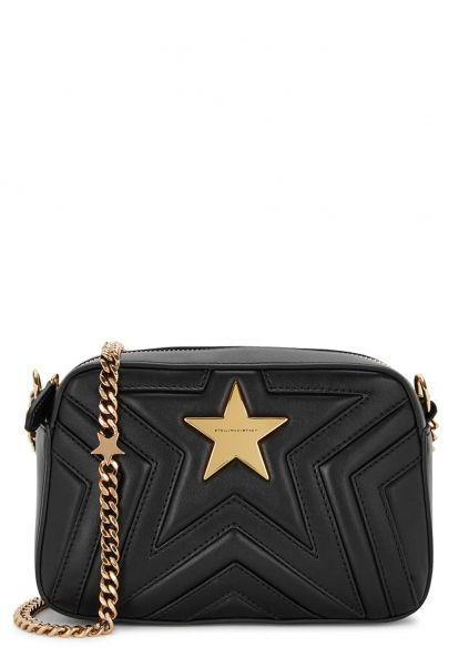 d72c53d367a5 Stella Star black shoulder bag - Hand-finished Stella McCartney black faux  leather cross-body bag Chain shoulder strap
