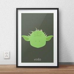 Kolorowy plakat na ścianę z wizerunkiem Yoda dla dzieci i  fanów filmu Gwiezdne Wojny