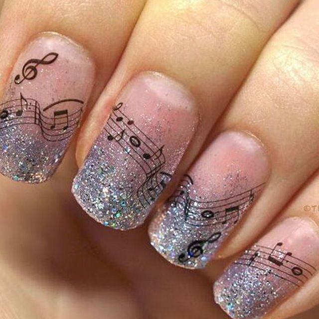 1 Feuilles Beauté Musique Note Conceptions DIY Conseils Créatifs Orteils Autocollant Stickers Nail Art Manucure Décorations # TRNew