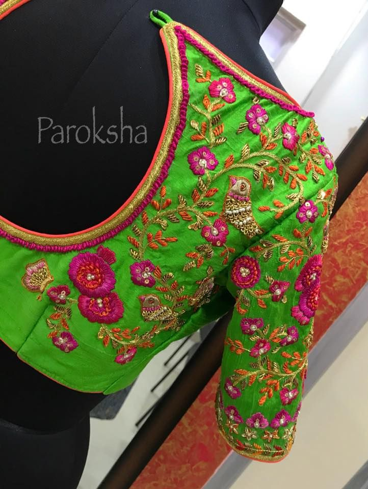 Beautiful parrot green blouse with bird embroidery design from Paroksha.  23 May 2017
