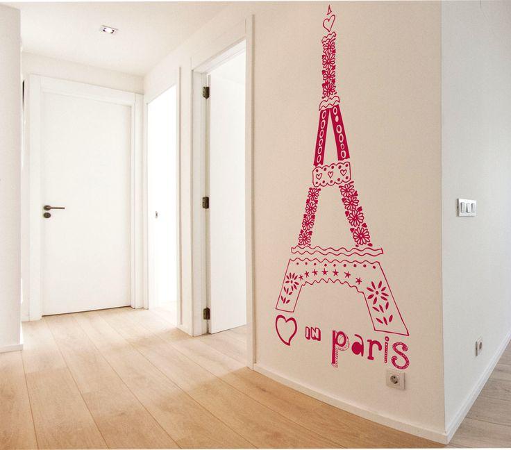Vinilo texto decorativo de la torre eiffel love in paris for Vinilos decorativos textos